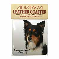 Tri-Colour Border Collie-Love Single Leather Photo Coaster Perfect Gift