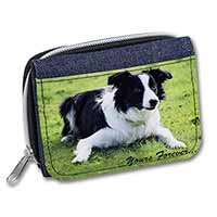 "Border Collie Dog ""Yours Forever..."" Girls/Ladies Denim Purse Wallet Birthday Gi"