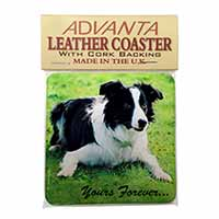 "Border Collie Dog ""Yours Forever..."" Single Leather Photo Coaster Perfect Gift"