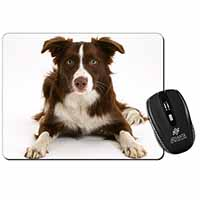 Liver and White Border Collie Computer Mouse Mat Birthday Gift Idea