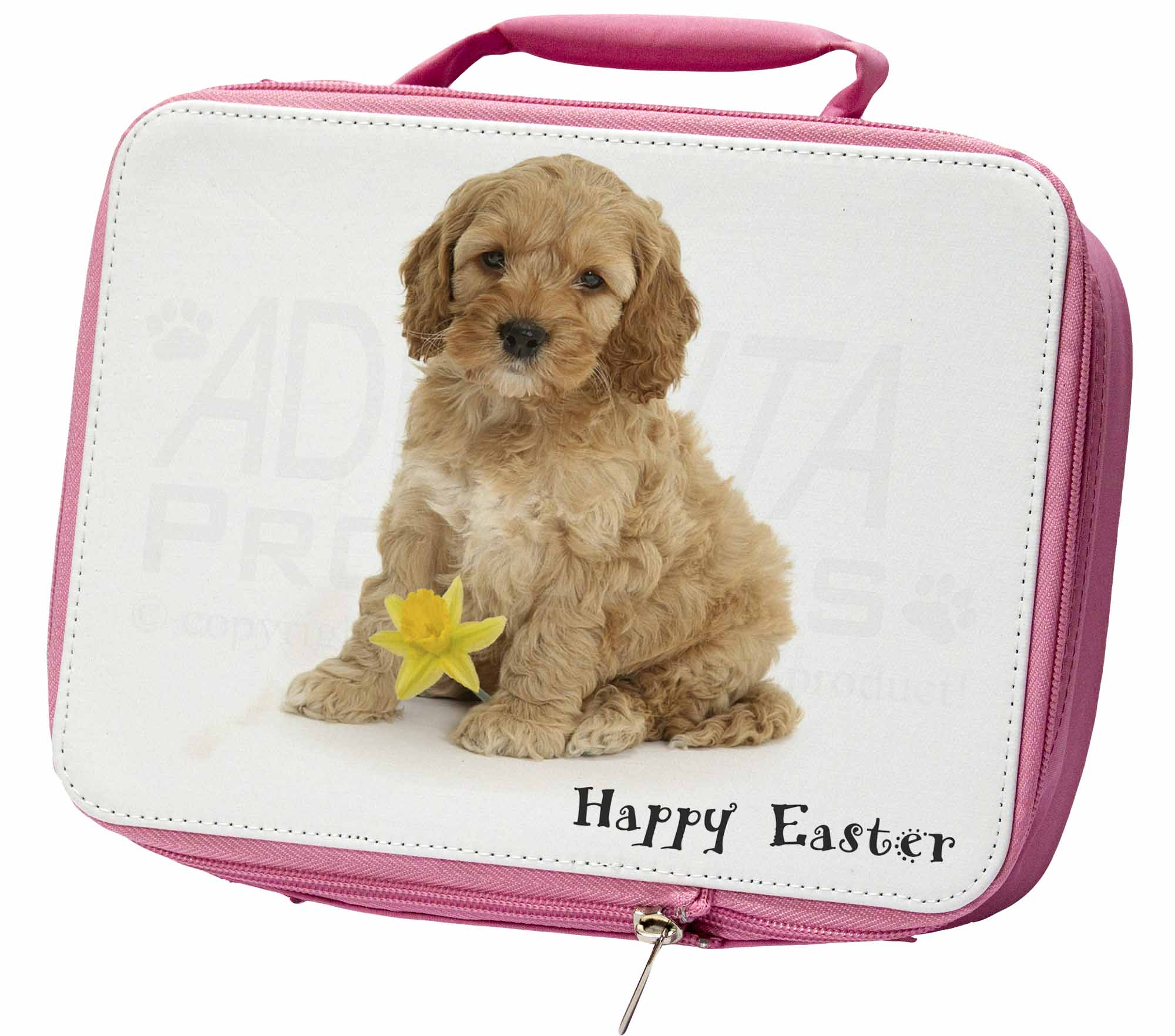 'happy Easter' Cockerpoodle Insulated Pink School Lunch Box Bag, Ad-cp6da1lbp