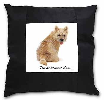 Cairn Terrier Dog With Love Black Border Satin Feel Scatter Cushion