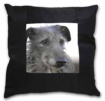 Deerhound Dog Black Border Satin Feel Scatter Cushion