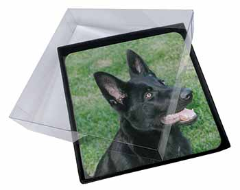 4x Black German Shepherd Dog Picture Table Coasters Set in Gift Box