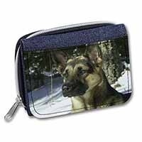 German Shepherd Dog in Snow Girls/Ladies Denim Purse Wallet Birthday Gift Idea