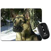 German Shepherd Dog in Snow Computer Mouse Mat Birthday Gift Idea
