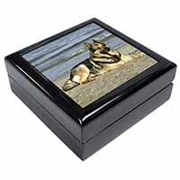 German Shepherd Dog on Beach Keepsake/Jewel Box Birthday Gift Idea