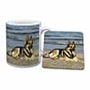 German Shepherd Dog on Beach Mug+Coaster Christmas/Birthday Gift Idea