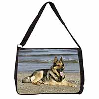 German Shepherd Dog on Beach Large Black Laptop Shoulder Bag School/College