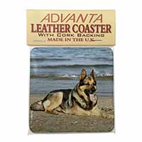 German Shepherd Dog on Beach Single Leather Photo Coaster Perfect Gift