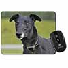 Black Greyhound Dog Computer Mouse Mat Christmas Gift Idea