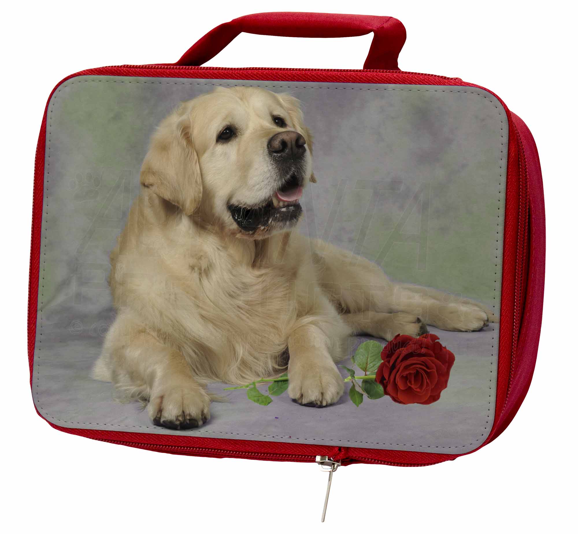 Golden Retriever with Red Rose Insulated Red School AD-GR2RLBR Lunch Box/Picnic, AD-GR2RLBR School 4df366