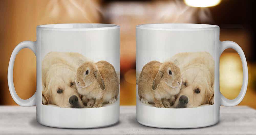 AD-GR52MG Golden Retriever and Rabbit Coffee//Tea Mug Christmas Stocking Filler