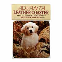 Golden Retriever Puppy Single Leather Photo Coaster Perfect Gift