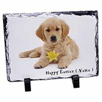 Personalised Name Golden Retriever Photo Slate Christmas Gift Idea