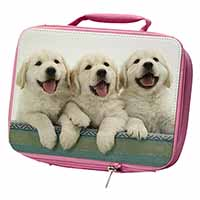 Golden Retriever Puppies Insulated Pink School Lunch Box Bag