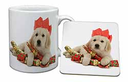 Christmas Golden Retriever Mug+Coaster Birthday Gift Idea