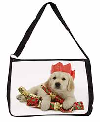 Christmas Golden Retriever Large Black Laptop Shoulder Bag School/College