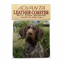 German Wirehaired Pointer Single Leather Photo Coaster Perfect Gift