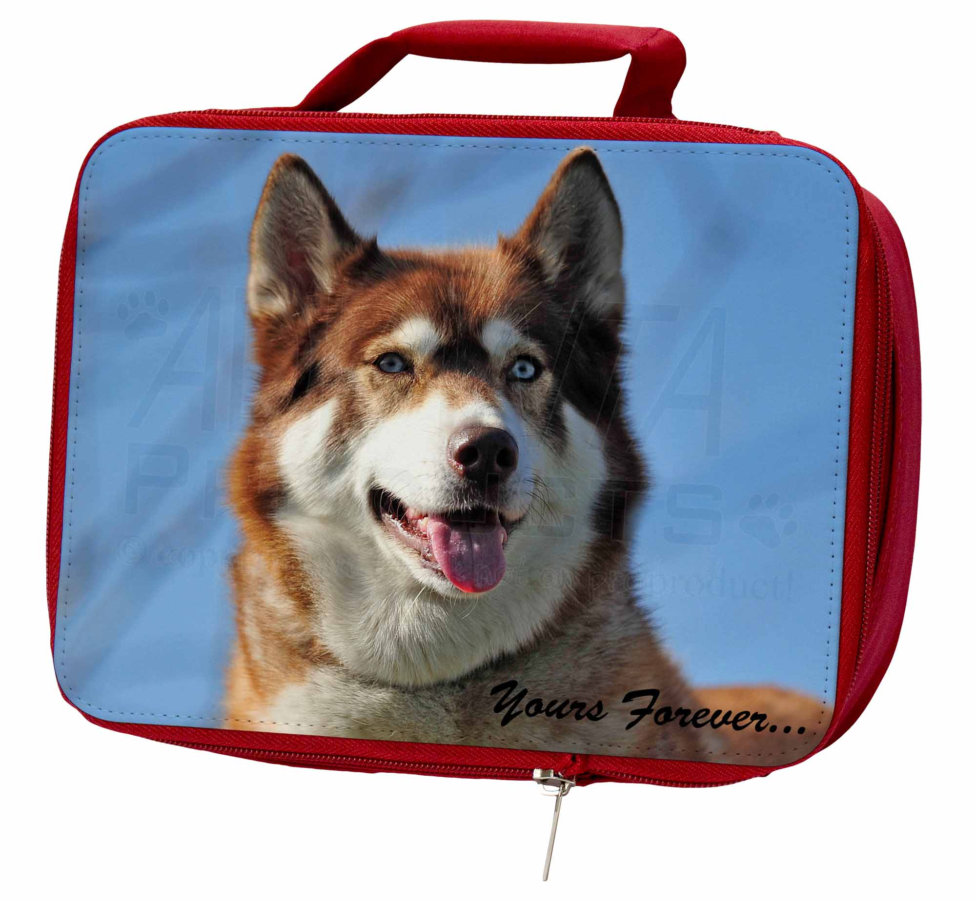 Red Husky 'Yours Forever' Insulated Red School Lunch Box/Picnic Bag, AD-H68yLBR AD-H68yLBR Bag, 084d74