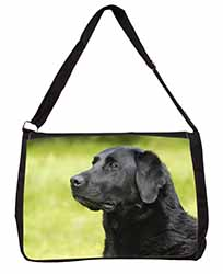 Black Labrador Dog Large Black Laptop Shoulder Bag School/College