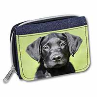 Black Labrador Puppy Girls/Ladies Denim Purse Wallet Birthday Gift Idea