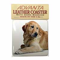 Golden Retriever Dog Single Leather Photo Coaster Perfect Gift