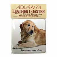 Golden Retriever-With Love Single Leather Photo Coaster Perfect Gift
