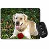 Yellow Labrador with Red Rose Computer Mouse Mat Christmas Gift Idea