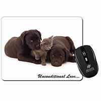 Black Labrador and Cat Computer Mouse Mat Christmas Gift Idea
