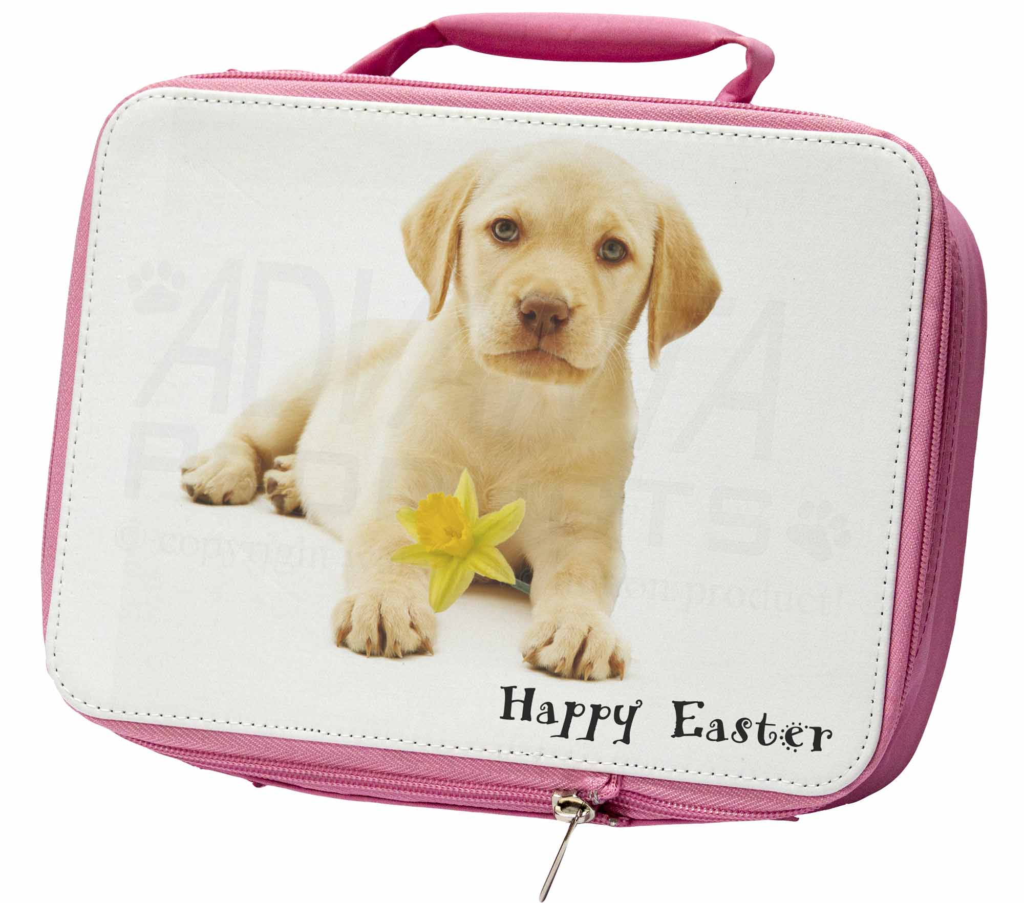 'Happy Easter' Goldie Puppy Insulated Pink School Lunch Box Bag, ADL4DA1LBP