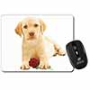 Yellow Labrador Puppy with Rose Computer Mouse Mat Christmas Gift Idea