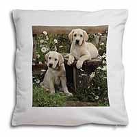 Yellow Labrador Puppies Soft Velvet Feel Cushion Cover With Pillow Inner