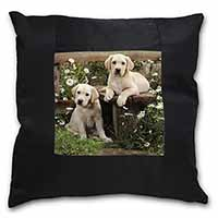 Yellow Labrador Puppies Black Border Satin Feel Scatter Cushion