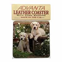 Yellow Labrador Puppies Single Leather Photo Coaster Perfect Gift