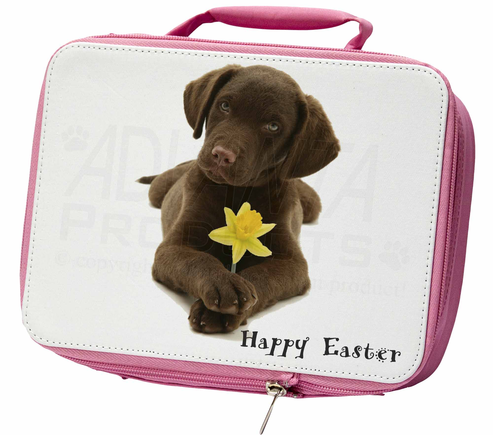 'Happy Easter' Labrador Insulated Pink School Lunch Box Bag, ADL53DA1LBP