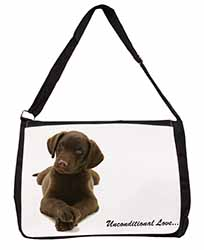 Chocolate Labrador Puppy Large Black Laptop Shoulder Bag School/College