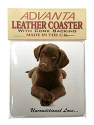 Chocolate Labrador Puppy Single Leather Photo Coaster Perfect Gift