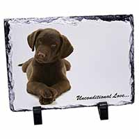 Chocolate Labrador Puppy Photo Slate Christmas Gift Ornament