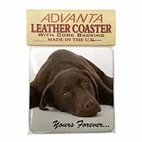 Chocolate Labrador Dog Love Single Leather Photo Coaster Perfect Gift