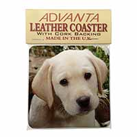 Yellow Labrador Puppy Single Leather Photo Coaster Perfect Gift