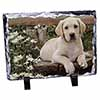 Yellow Labrador Puppy Photo Slate Christmas Gift Ornament