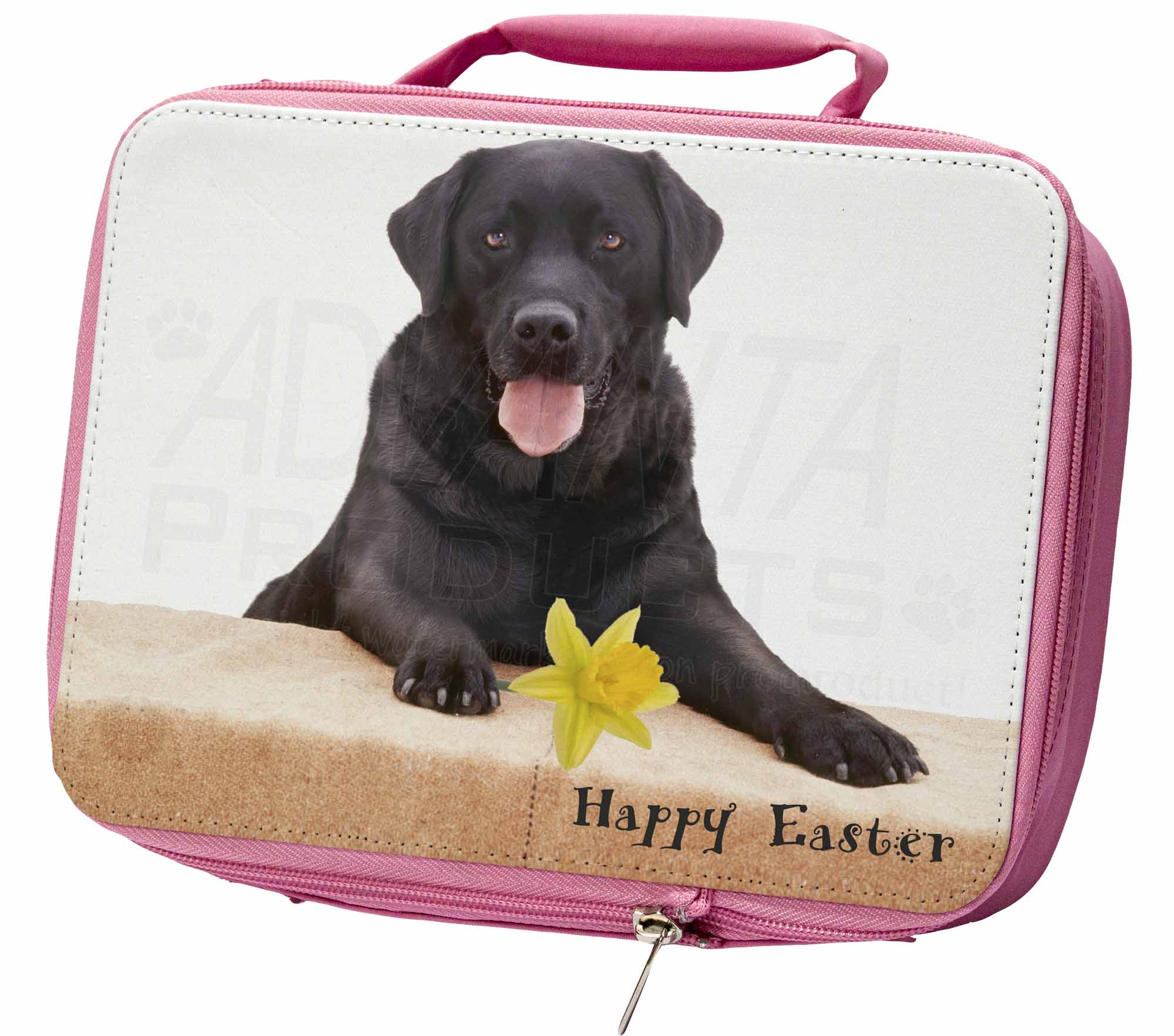 'Happy Easter' Black Labrador Insulated Pink School Lunch Box Bag, ADL86DA1LBP