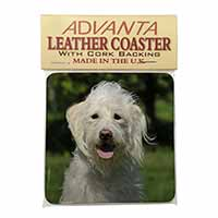 White Labradoodle Dog Single Leather Photo Coaster Perfect Gift