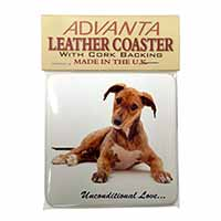 Lurcher Dog-With Love Single Leather Photo Coaster Perfect Gift