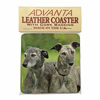 Lurcher Dog Print Single Leather Photo Coaster Animal Breed Gift