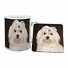 Maltese Dog Mug+Coaster Christmas/Birthday Gift Idea
