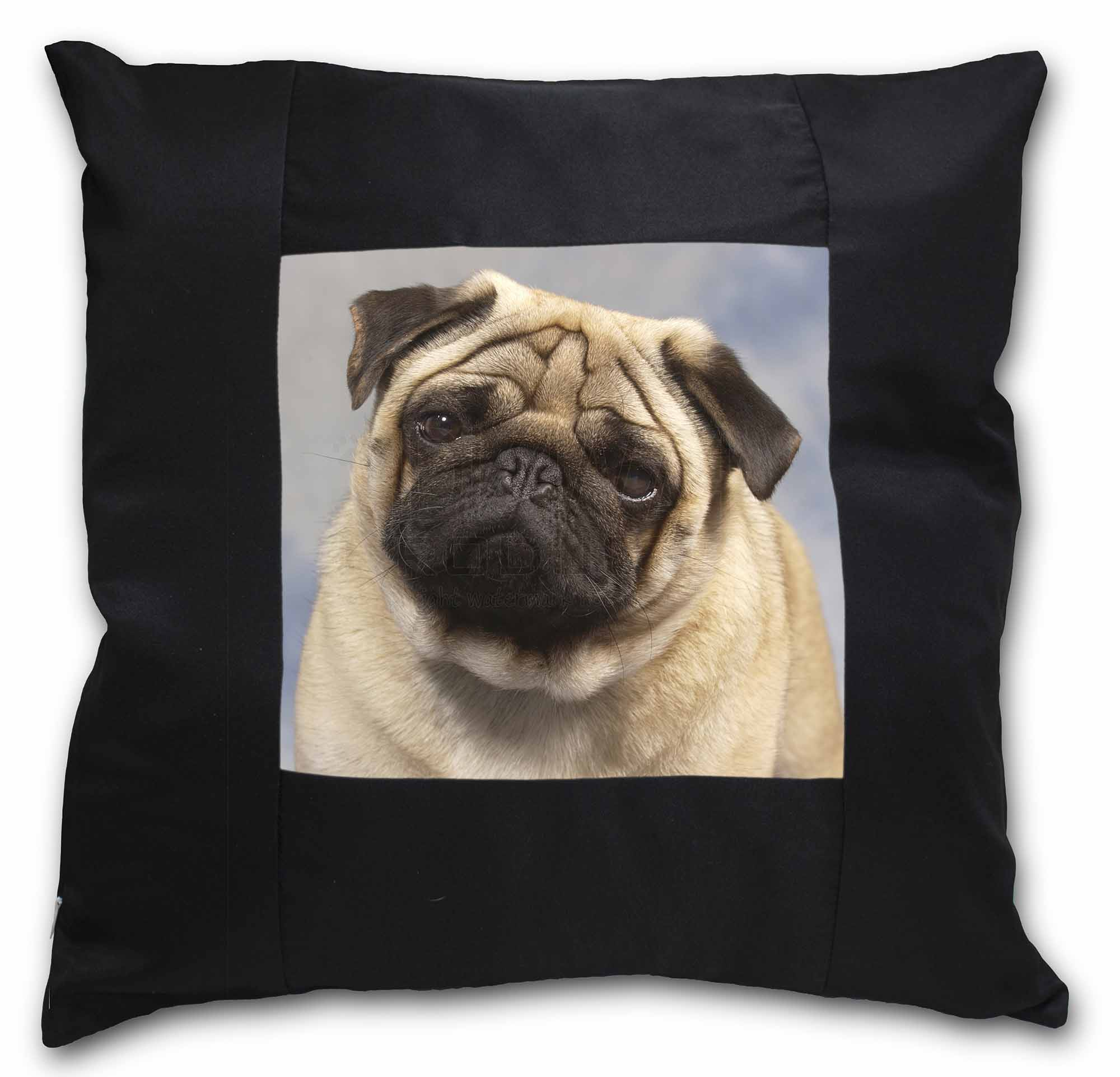 Fawn Pug Dog Black Border Satin Feel Cushion Cover With Pillow