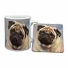 Fawn Pug Dog Mug+Coaster Christmas/Birthday Gift Idea