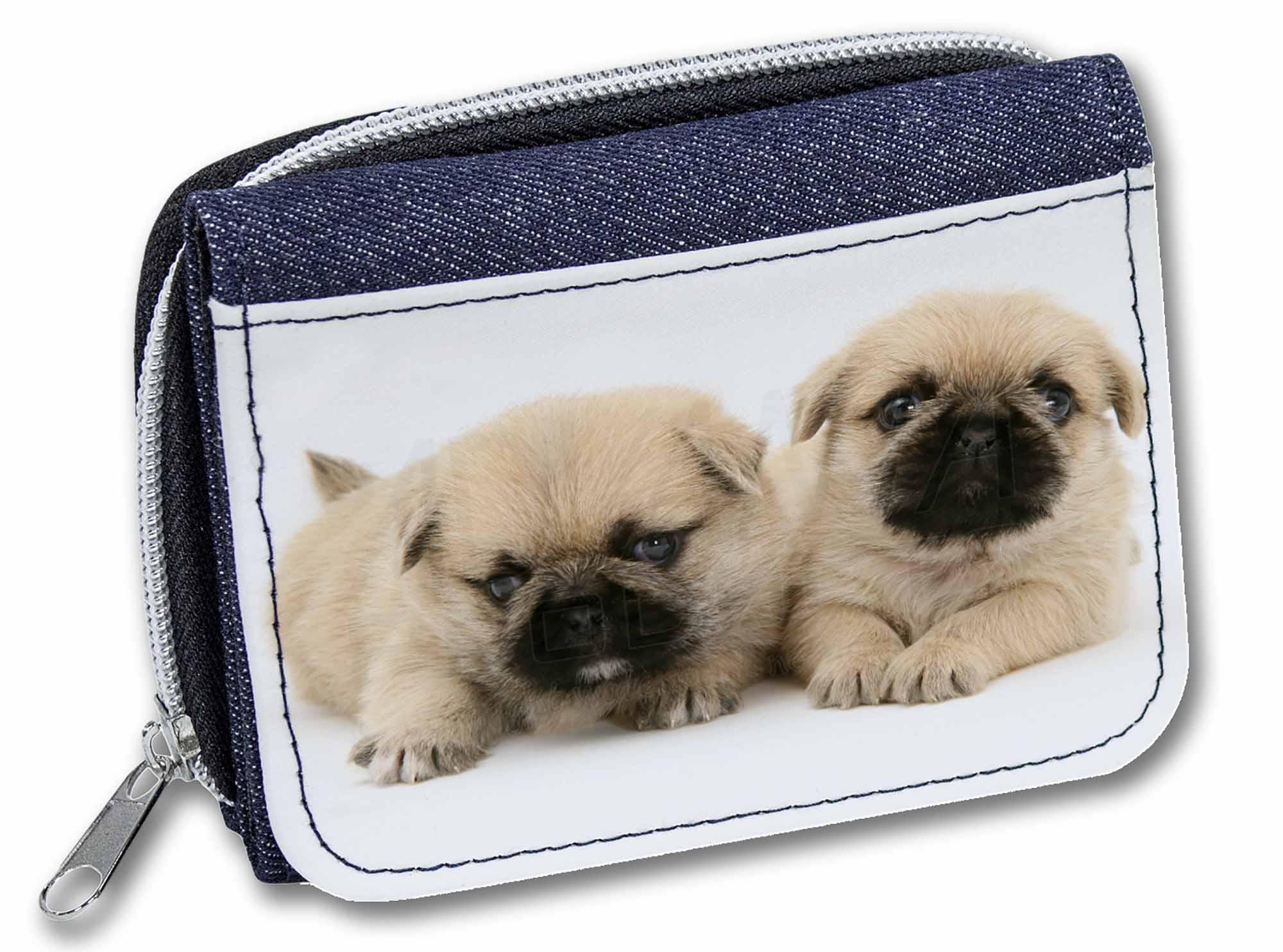 AD-P89JW Pugzu Dog Girls//Ladies Denim Purse Wallet Christmas Gift Idea